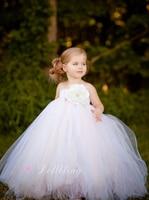 Sprookje Gedoopt keepsate bloem meisje bruiloft pluizige baljurk outfit VS 1st verjaardag avond prom Mesh tutu feestjurk
