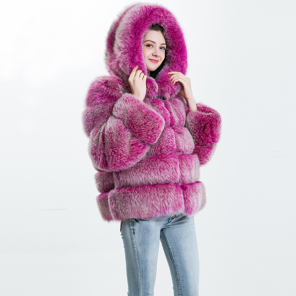 2018 Fashion Real Fox Fur Coat Female Winter Jacket Natural Fur Coat With Hood Autumn Warm Ladies Real Fur Hooded Coat For Women