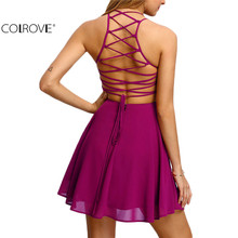 COLROVE Hot Pink Cross Lace Up Backless Spaghetti Strap Short Skater Dress Women A Line Sleeveless Mini Dress