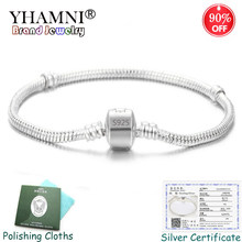 Free Sent Certificate! 100% 925 Solid Silver Snake Bone Charm Bracelets Bangles Wedding Jewelry for Women Long 16-23cm YZS005(China)