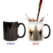 Funny Ceramic Zombie Discoloration Cups Creative Black Color Change Heat Induction Magic Coffee Mugs Christmas Halloween Gifts