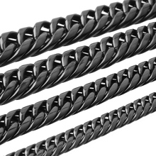 Granny Chic Punk Style 316L Stainless Steel Chains Necklace for Men Black Mens Necklace Curb Cuban Jewelry Gifts 9-22mm Wide chic y shaped chains necklace jewelry for women