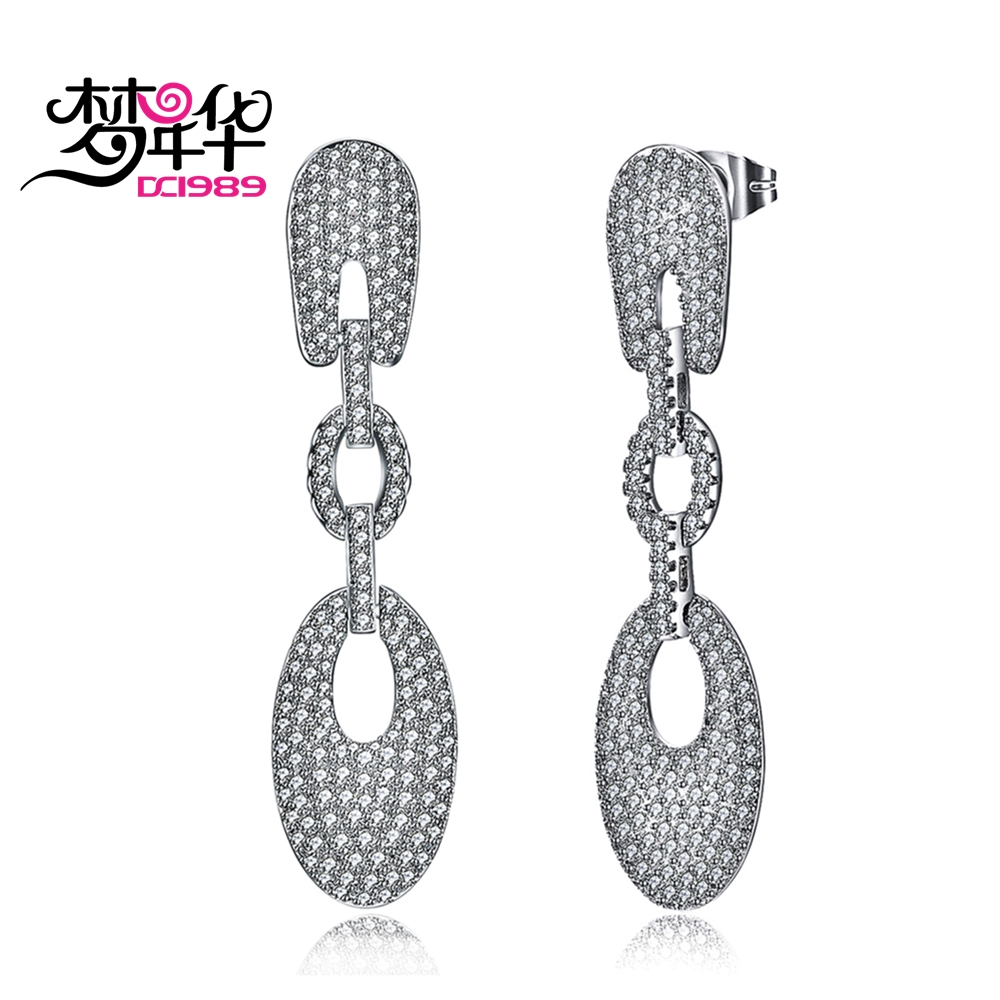 Dreamcarnival1989 Linear Link Drop Earrings For Women Rhodium Gold color Full Simulated Cubic Zirconia Marriage Anniversary