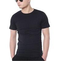 Luxury Cotton Slim Fit T Shirt Men Solid Short Sleeve T Shirt Male Black White Plain
