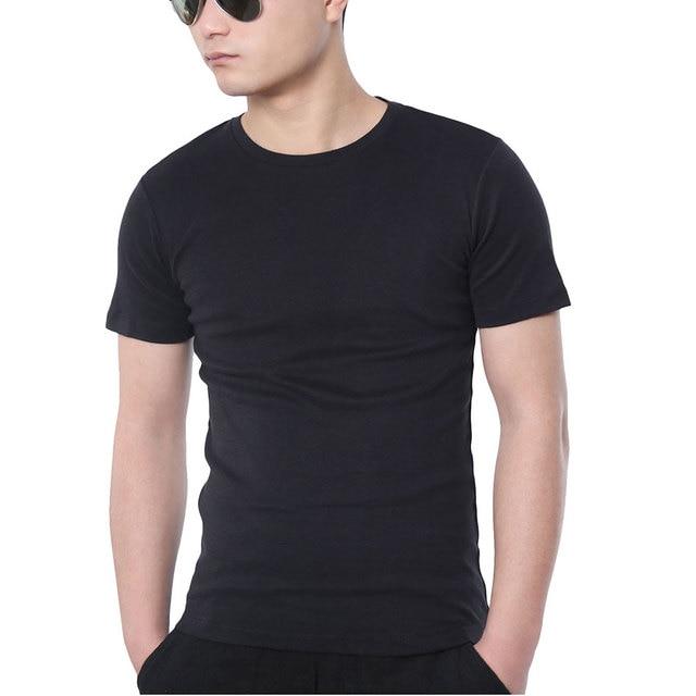 fe8e9a394b3 Luxury Cotton Slim Fit T-Shirt Men Solid Short Sleeve T Shirt Male Black White  Plain Top Tees Basic