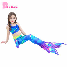 3 Pcs Girls Colorful  Mermaid Tail Swimwear Bathing Suit Cosplay Costume Bikini Swimsuit Swimming Suits Swimmer Clothes