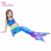 3 copë Vajza Ngjyra shumëngjyrëshe Mermaid Bishta Veshje banje Kostum Cosplay Kostum Bikini Rroba banje Kostume banje Veshje rrobash noti