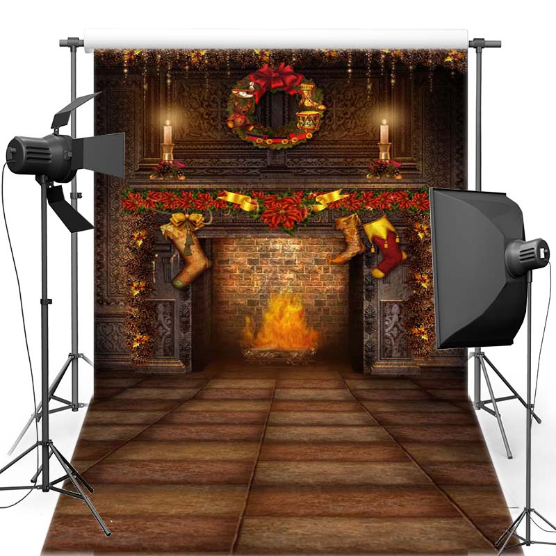 MEHOFOTO Merry Christmas Vinyl Photography Background Fireplace New Fabric Flannel Backdrop For Children Photo Shoot 6357 retro background christmas photo props photography screen backdrops for children vinyl 7x5ft or 5x3ft christmas033