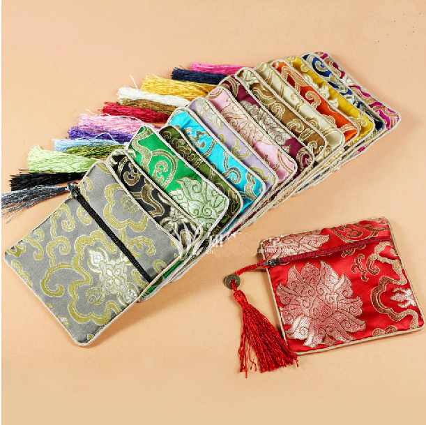 Pouches Packaging-Bags Coin-Purse Jewellery-Storage Fabric Silk Zip-Gift Small Vintage title=