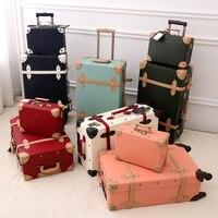 2018 Новый PU багаж набор кожаный чемодан Ретро spinner колес подвижного камера 3 вида цветов высокое качество, Бесплатная доставка