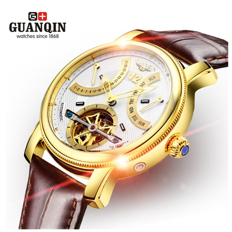 Famous Brand GUANQIN Men Watches Luminous Mechanical Luxury Sale Watches Waterproof Watch Leather Men Wristwatches Male Clock famous brand guanqin men watch with date mechanical watches sapphire men sale watch luxury brand waterproof dress wristwatches