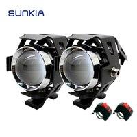 SUNKIA 2Pcs Set U5 LED Motorcycle Headlight High Power Waterproof 3000LM CREE Chip Motorbike Fog Lamp