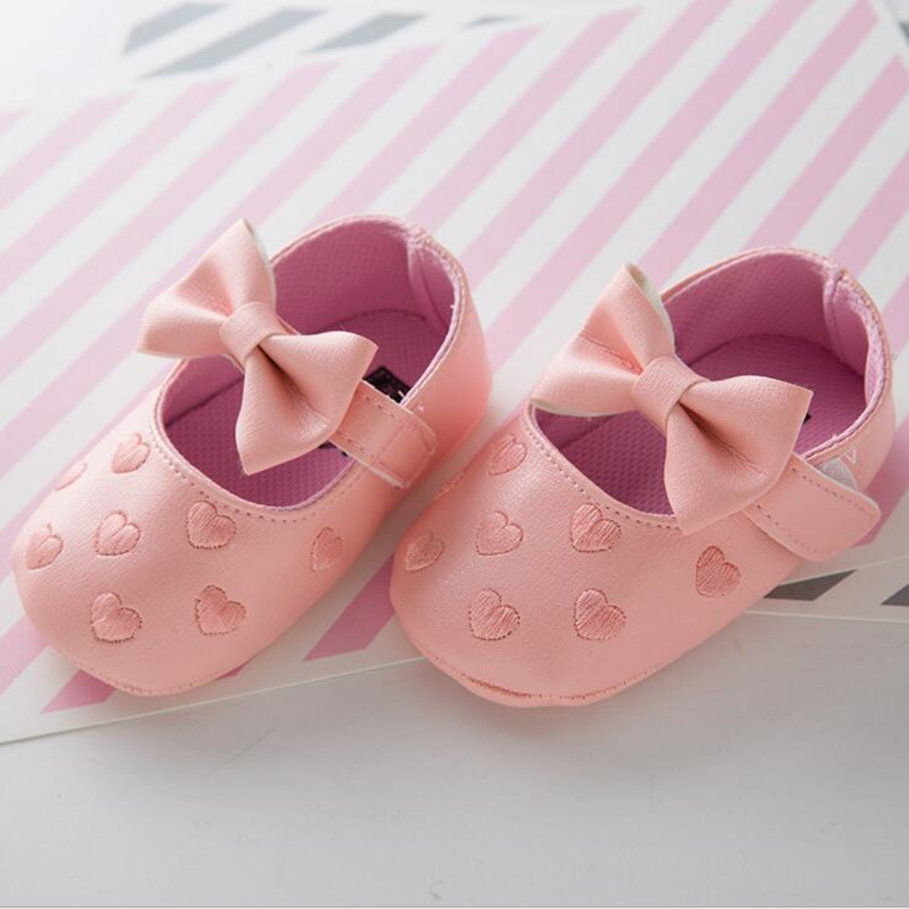 PU Leather Big Bow Embroidery Love Soft Bottom Kids Shoes Non-slip Baby Shoes Toddler Prewalkers Boots Newborn Babies Shoes