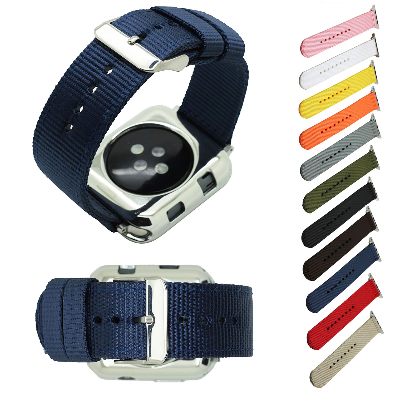 Sport Colorful Nylon Strap Band for Apple Watch 3 42mm 38mm Wrist Bracelet Belt Fabric Nylon Band for iWatch 1/2/3 sport loop for apple watch band case 42mm 38mm nylon watch strap bracelet with metal frame protector case cover for iwatch 3 2 1