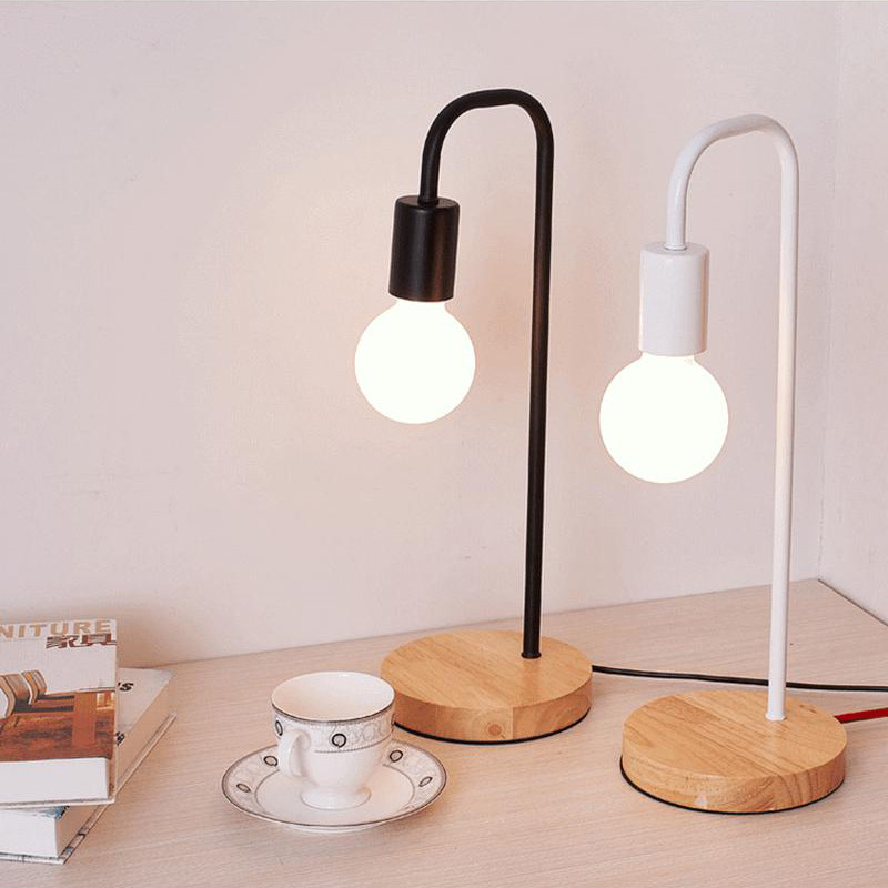 Nordic Modern Wood Desk Lights Wooden Bedside Table Lamps For Living Room Simple Light Fixtures ForRoom Decor On Off Switch