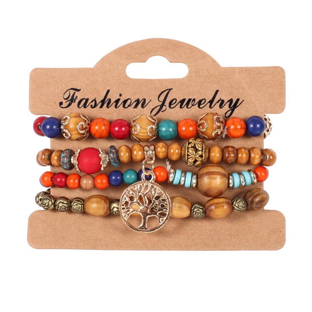 Charmsmic Multilayer Tree of Life Charm Bracelets Handmade Wooden Beads Mens Bracelets Braided Women Jewelry Accessories