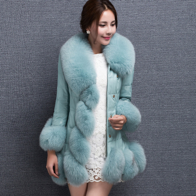 2015 new high quality women's! fur coat fox fur collar sheep skin fox long coat winter coat women's plus size S-4XL
