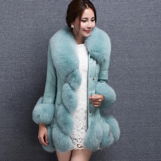 2015 new high quality women's! fur coat fox fur collar sheep skin fox long coat winter coat women's plus size S-4XL