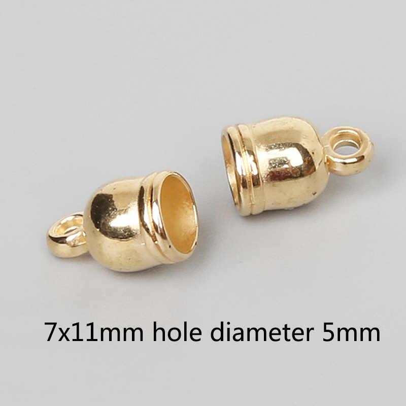Sale 50PCS/Pack Alloy Silver Gold Color Bell DIY For Bracelet Necklace Tassel Caps Bead Anklet Gun Black Christmas Gifts