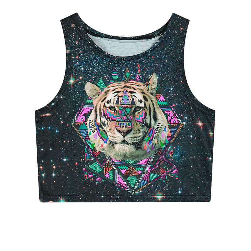 dee72afaccae9 Fetoo Summer Womens Crop Tops 3D Animal Tiger Lion Galaxy Weed Flower Skull  Sexy Women Tank