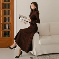 Elegant Women Winter Spring turtleneck long sleeve knitted sweater long Dress 2018 New Office Dresses Solid Vintage Vestidos