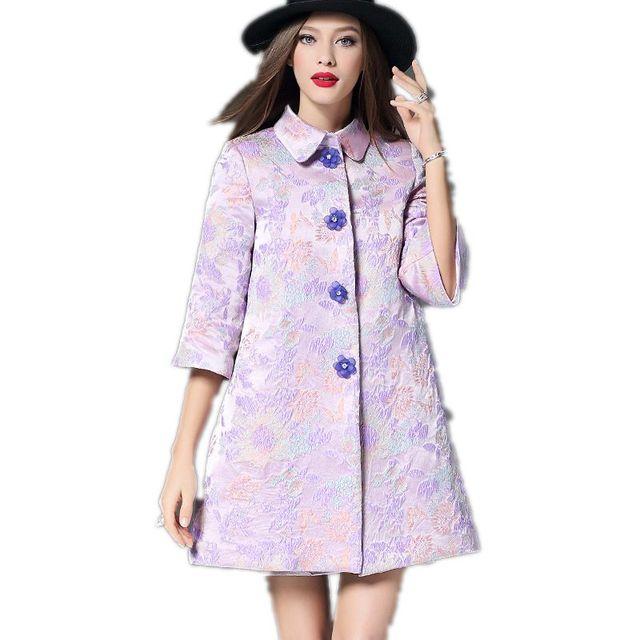 High Quality Dobby Trench Coats Women Coat Medium-long A Style Women's Autumn Coat  Autumn 2017 New Fashion Female Coats F274