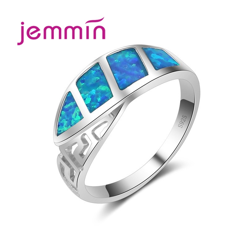 Cool Blue Fire Opal Elegant Ring For Women & Men Fine Jewelry 925 Sterling Silver Silver Color Engagement Jewelry.