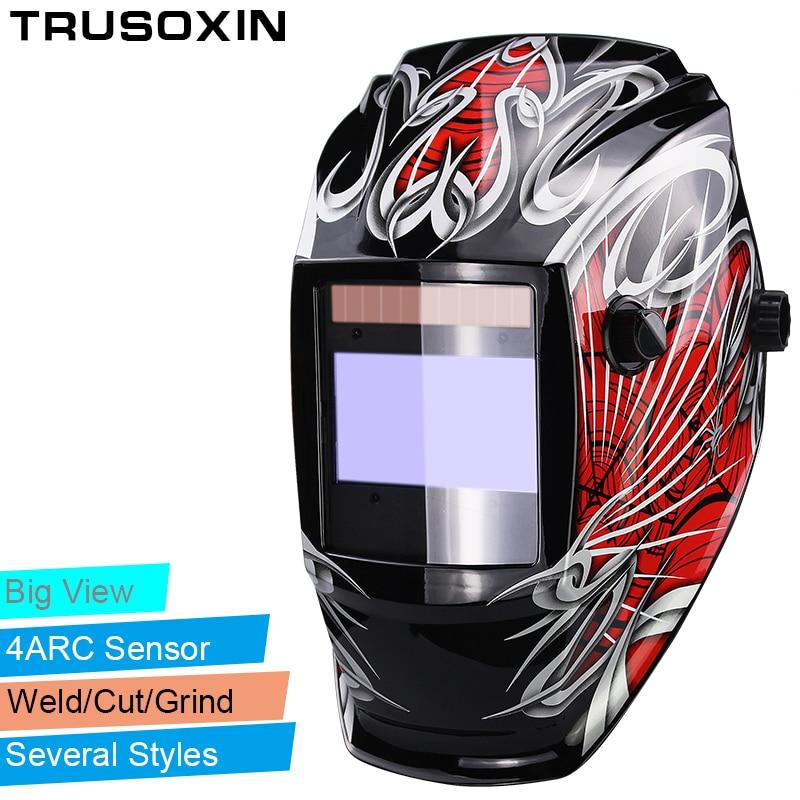 Pro Rechangeable Battery 4 Arc Sensor Solar Auto Darken/Shading Grinding Tig Arc Big View Welding Helmet/Welder Goggle/Mask/Cap