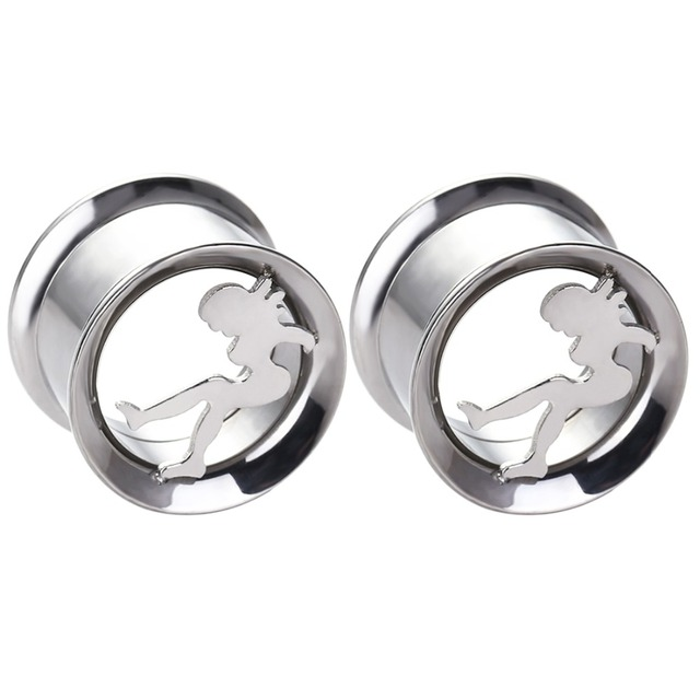 Double Flare Stainless Steel Ear Tunnel Plug Dancing Design Fit Flesh Piercing