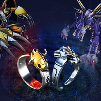 Quality Digimon Adventure WarGreymon Omegamon 925 Silver Ring Adjustable 15th Anniversary Rings Adjustable For Boyfriend Gift