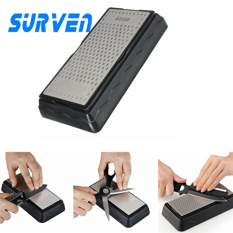 SURVEN Sharpener Double Side Diamond Whetstone Knife Sharpening Stone Kitchen Chef Knife 400 1000 Grit Sharpening