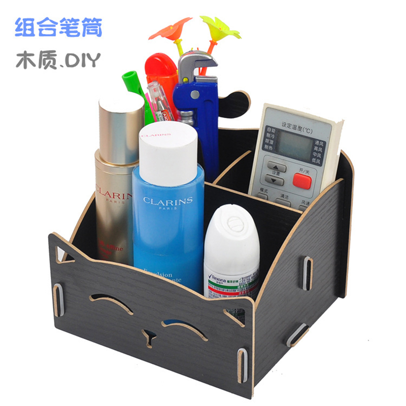 DIY Wood Pen Holder Hand Made Assembling Desk Organizer Pen Pot School Office Supplies P ...