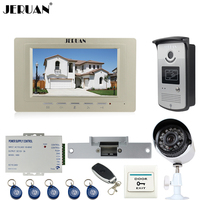 JERUAN Wired 7 Inch LCD Video Intercom Door Phone System Kit RFID Access IR Night Vision