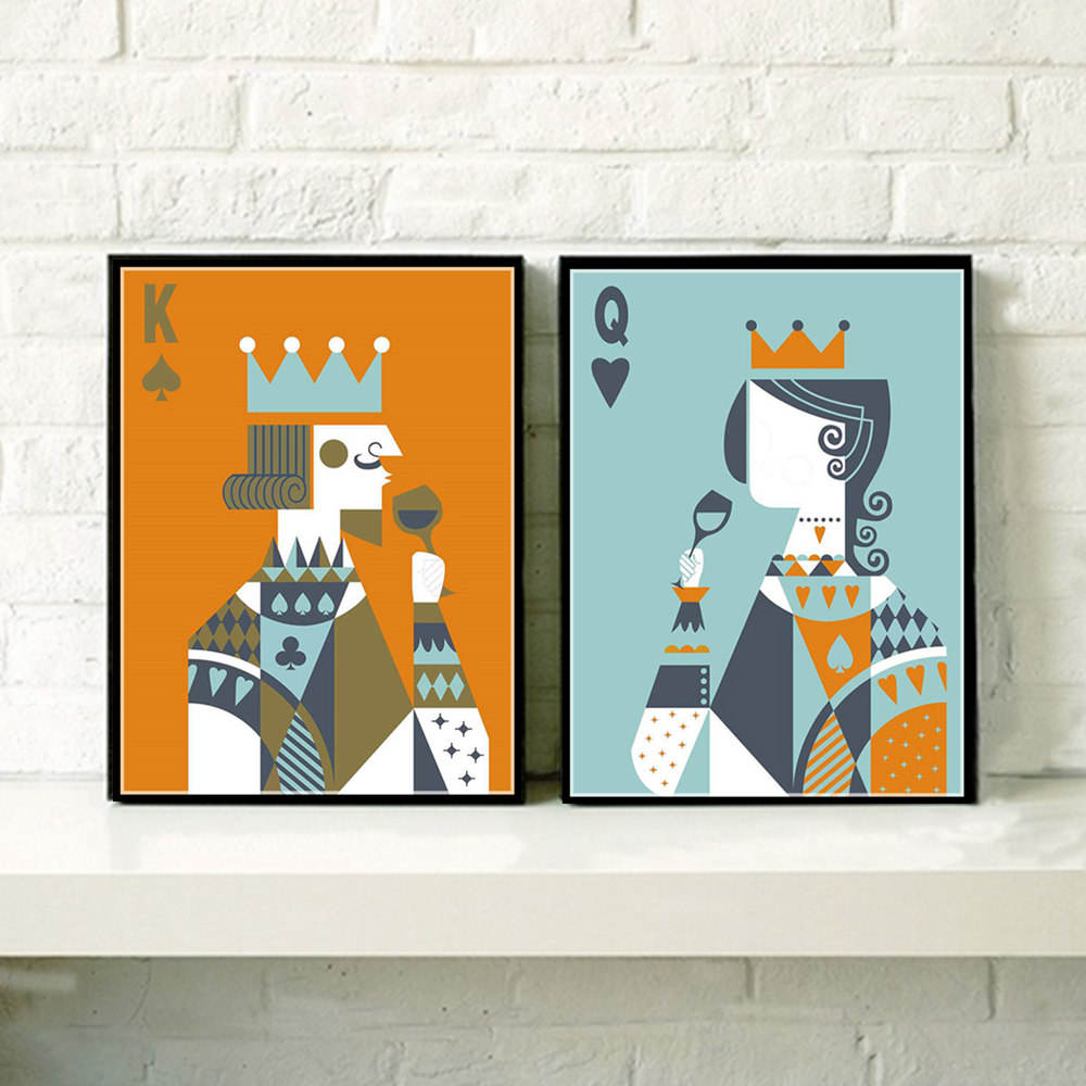 AZQSD Art Print Poster Poker King Queen Couple Hipster Abstract Wall Picture Canvas Painting No Framed Room Home Decor PP064