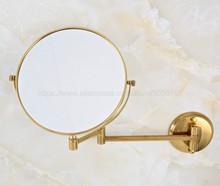 Wall Mounted Gold Color Brass Professional Vanity Mirror bathroom folding round Makeup mirror 3X Magnification zba632