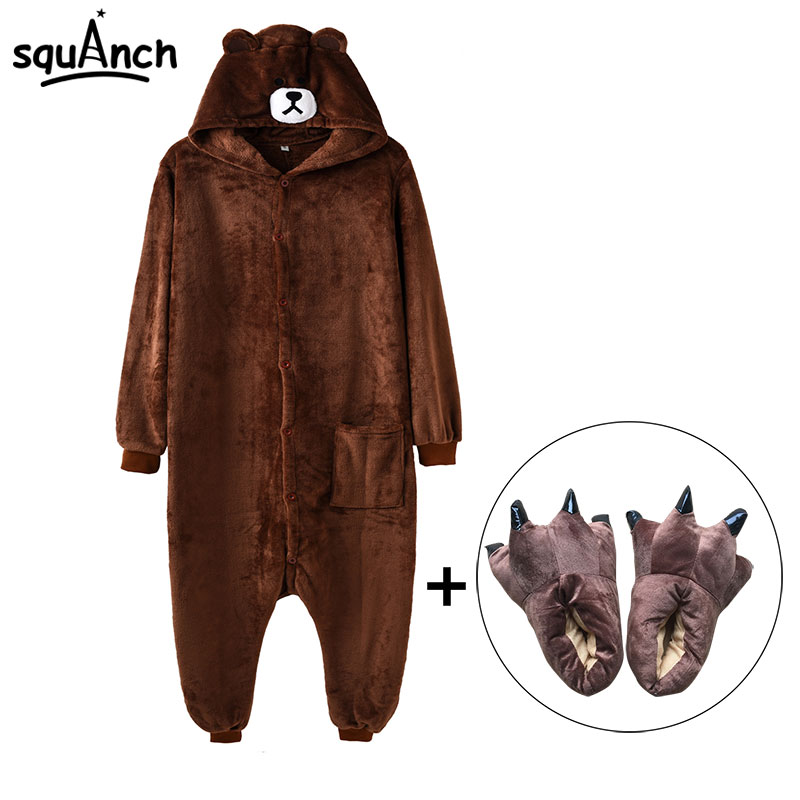 Bear Onesie Slippers Women Men Kigurumis Adult Animal Cartoon Pajama Funny Festival Party Fancy Suit Zipper Button Overalls