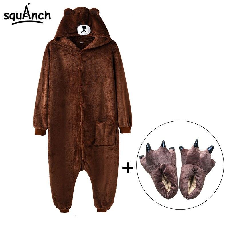 Kigurumi oso mono zapatillas hombres y mujeres adultos Animal de dibujos animados marrón pijama divertido Festival Fiesta elegante traje cremallera botón mono