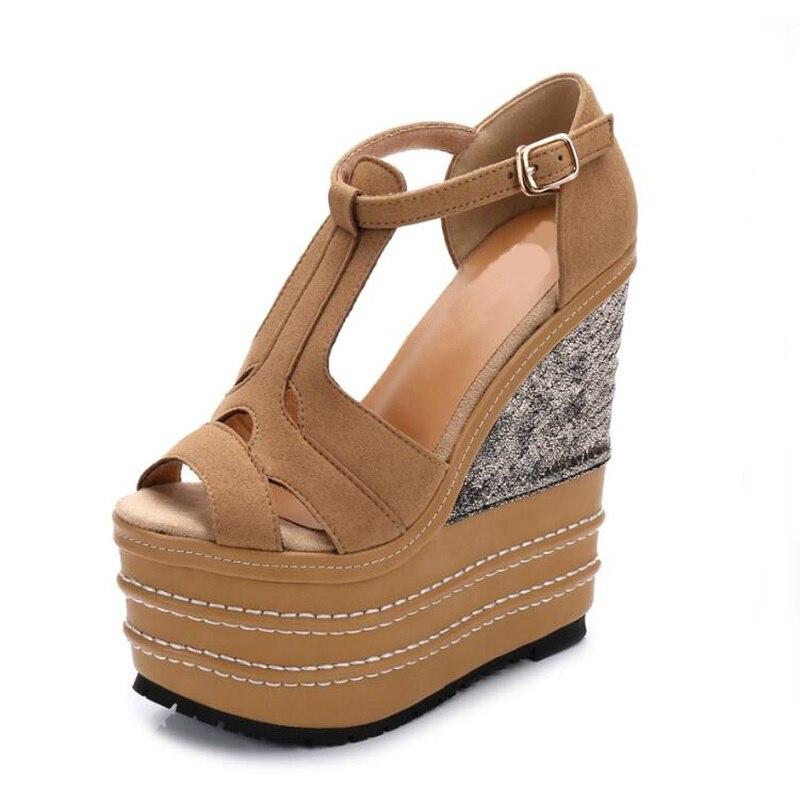 Femmes chaussures d'été 2018 plate-forme talons épais femme Patchwork sandales Ultra haute 16 CM talons femme fête robe chaussures compensées