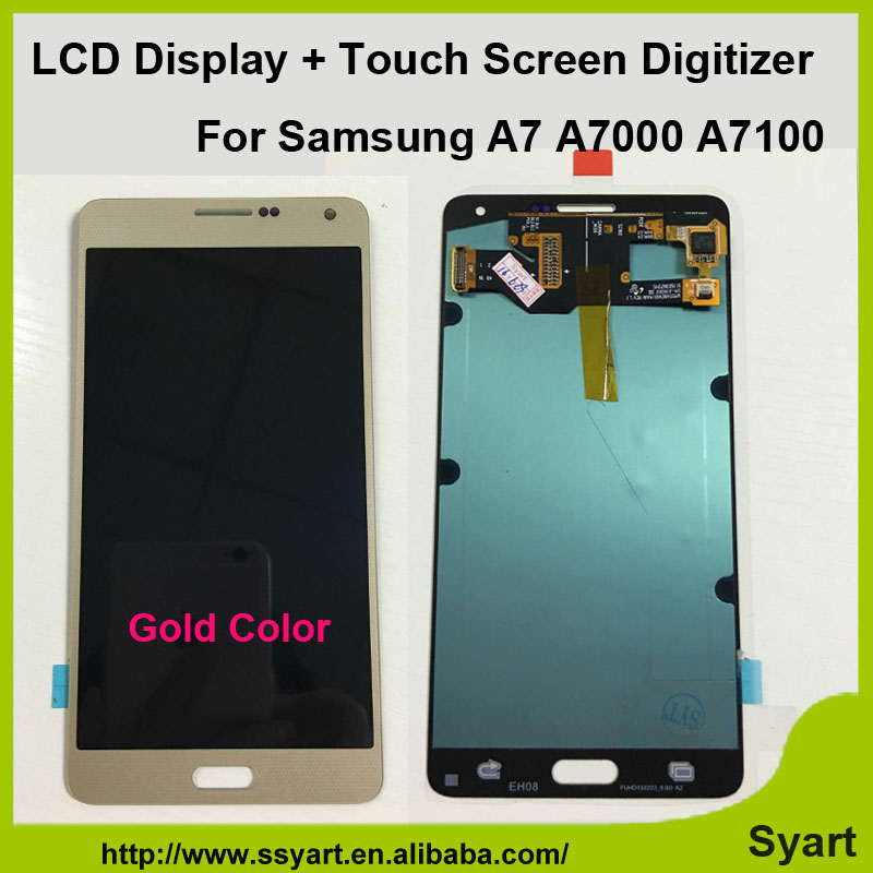 1Pcs Gold high quality LCD Display Touch Screen Digitizer Assembly For Samsung Galaxy A7000 A7009 A700F A700FD A700FQ A700H