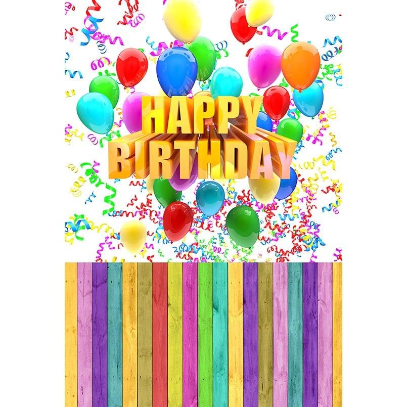 5x7ft Happy Birthday Ribbon Balloons Wood Floor Washable