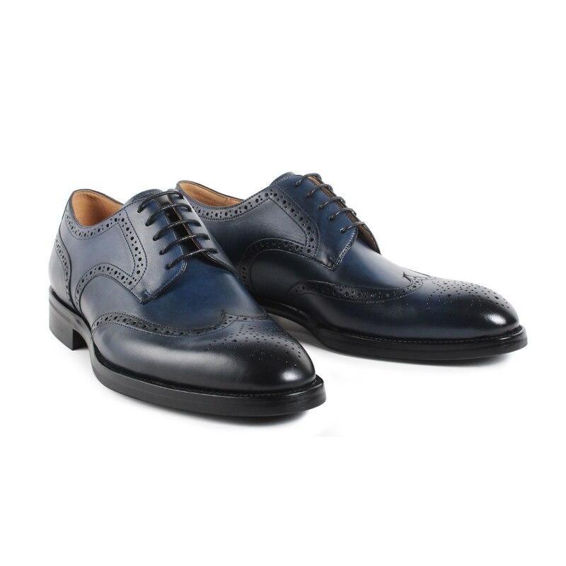 Vikeduo Handgemachte Retro Designer Mode Luxus Tanz Hochzeit Partei Brogue Marke Männlichen Schuh Aus Echtem Leder Männer Derby Kleid Schuhe-in Formelle Schuhe aus Schuhe bei  Gruppe 3