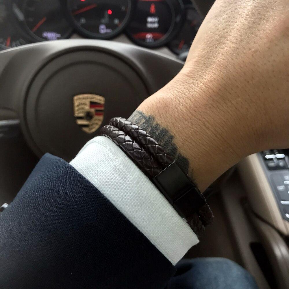 Mcllroy armband männer/Echtes Leder/Edelstahl/luxus/Männer Armband Geflecht Leder Magnet Armband schmuck erkek bileklik