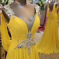 Vestido De Noiva Geel Avondjurken Rhinestone Backless Crystal Formele Robe De Soiree Lange Originele Foto Chiffon Toga