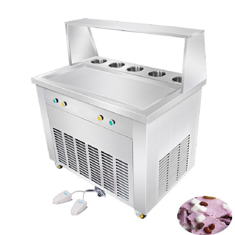 FREE SHIPPING Snack Equipment Long Straight Pan Fry Ice Cream Machine Frozen Yogurt Rolls Commercial Fried Ice Machine
