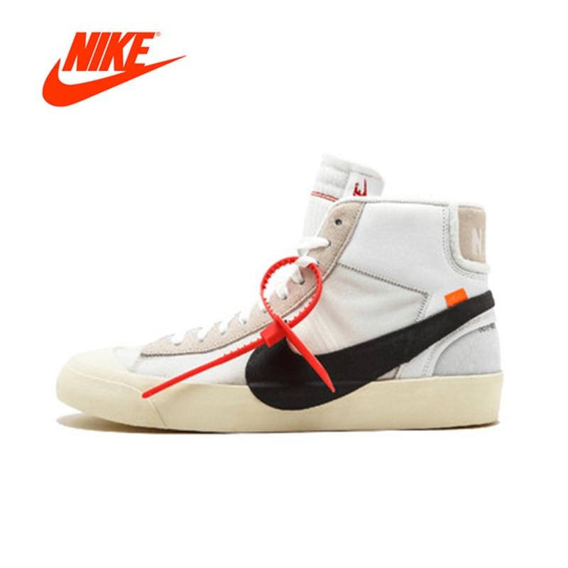 Resmi Asli Nike Blazer Mid Off Putih Pria Basket Sepatu Olahraga Outdoor  AA3832-100 4d8a7ab480