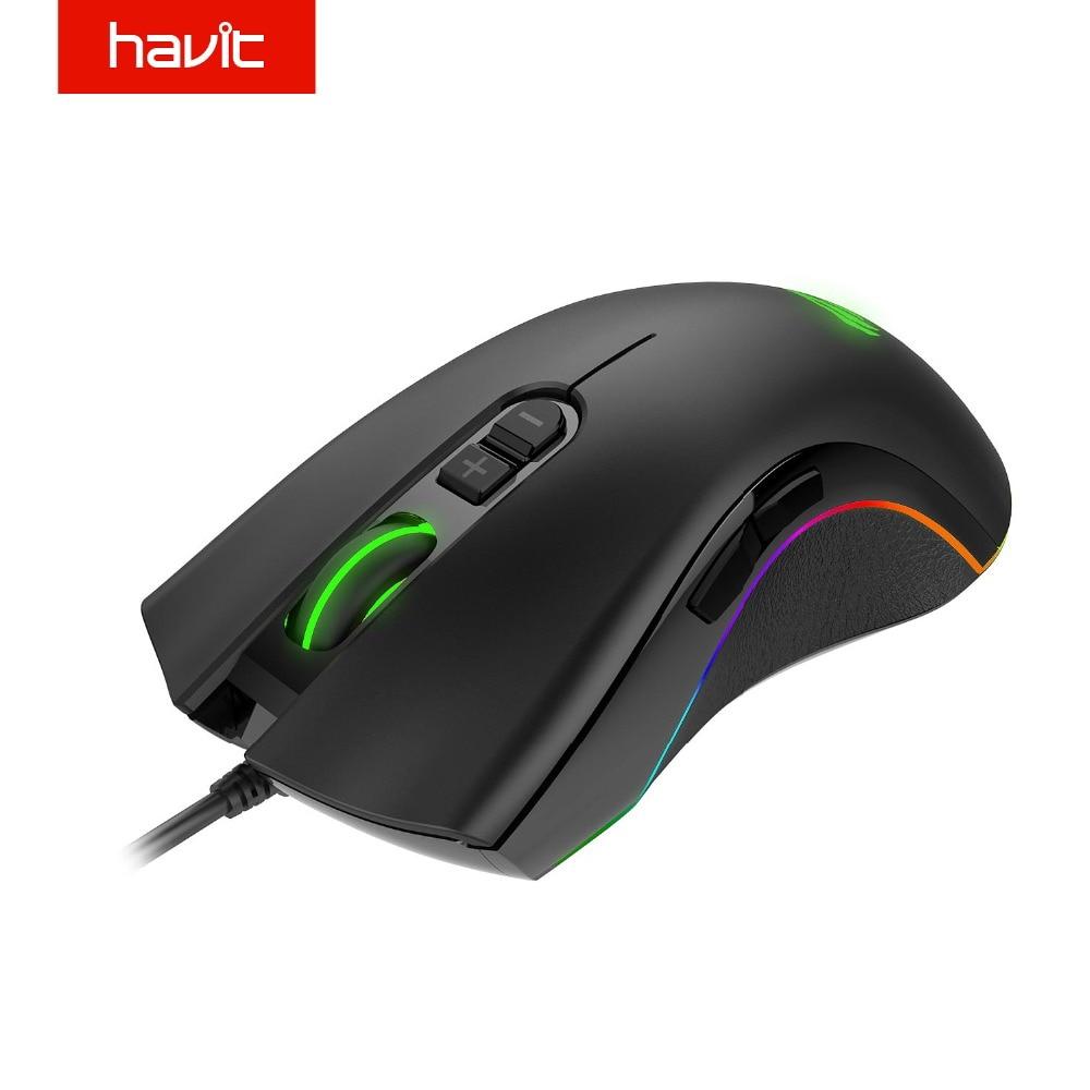 HAVIT de ratón de juego RGB retroiluminado 7200 DPI programable 7 botones USB ratón óptico con cable jugador para PC ordenador portátil HV-MS794
