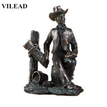 VILEAD 5.6 Resin Vintage Cowboy Figurine American West Statue Black Sculpture Modern Decoration for Home Office Shelves