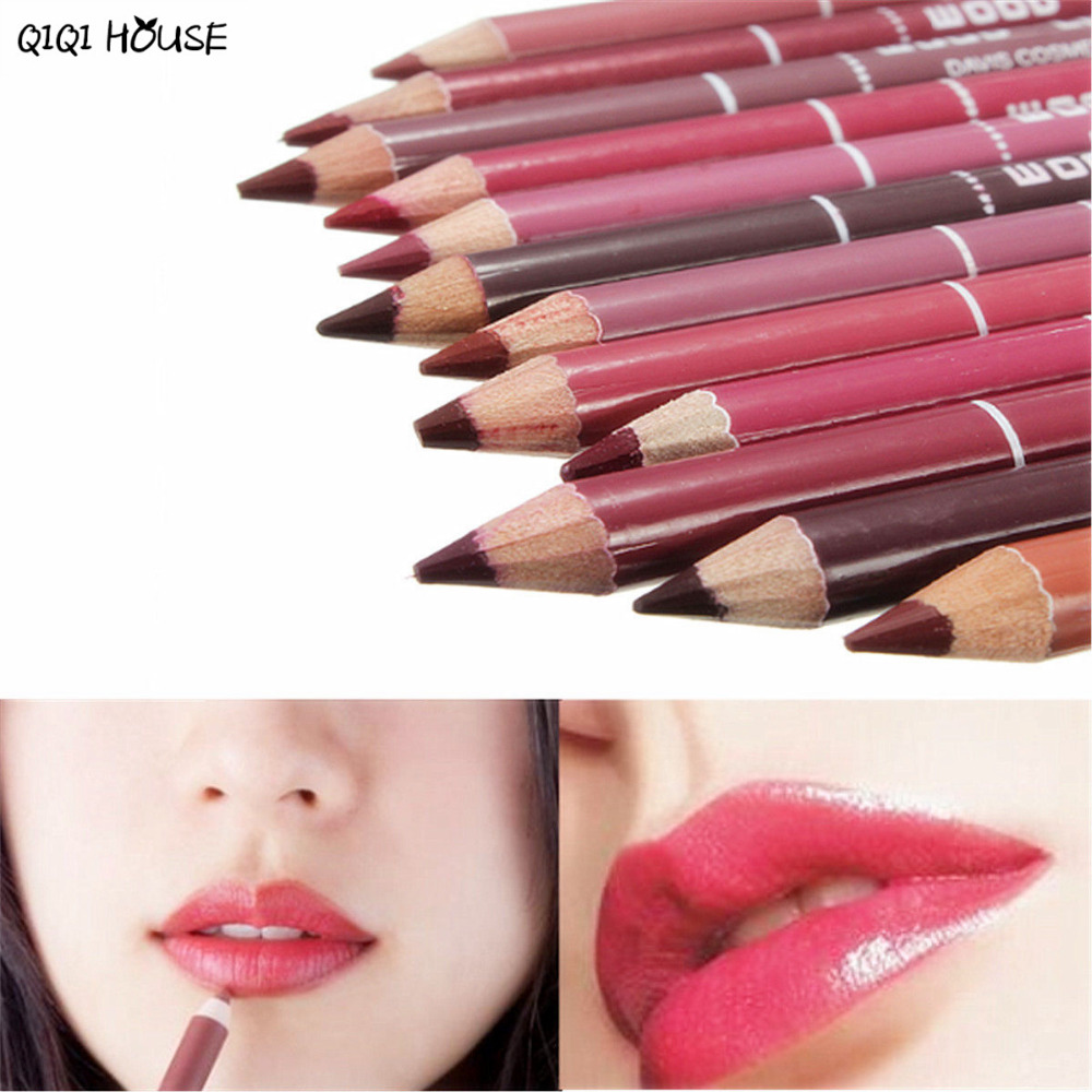 Lipliner Pencil Set Lip Gloss 12 PCS Lot Cosmetics Tool Set Beauty Eyeliner Maquillage Professional Kit