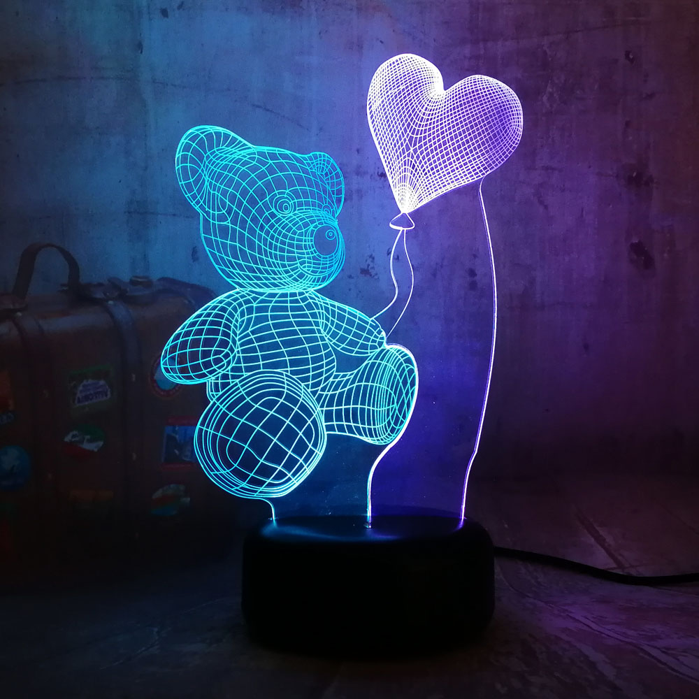 Romantic Teddy Bear Hold Heart 7 Color Mixed Dual Colors Girlfriend Gift 3D LED Night Lihgt Home Decor Novelty Lustre Desk Lamp