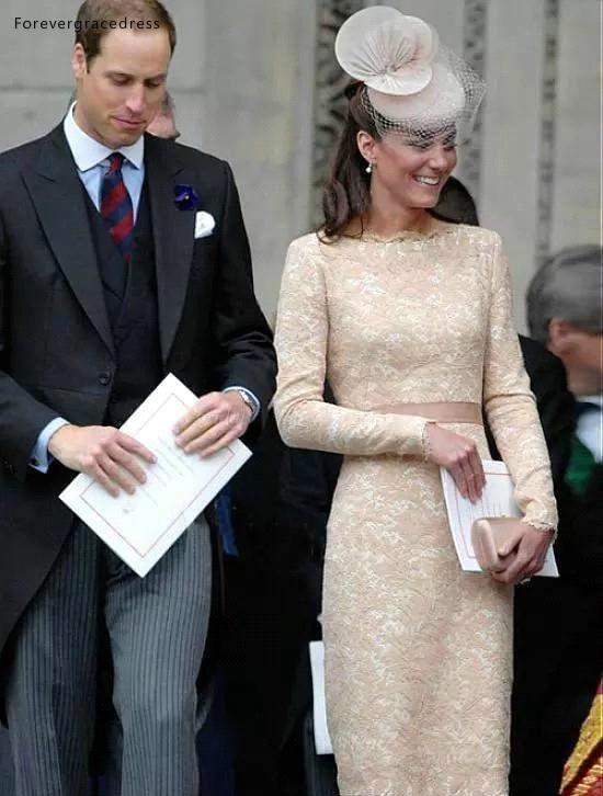 Elegant Kate Middleton Champagne Short Evening Dresses for Women Wear Knee Length Lace Long Sleeve Celebrity Cocktail Formal Gowns BC1434  115 (3)